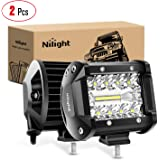 Nilight 18021F-B 2PC 4Inch Triple Row Lights 60W Flood Spot Combo 6000LM Bar Driving Boat Led Off Road Trucks, 2 Years…