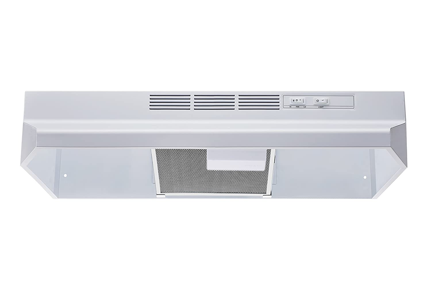 "Winflo New 30"" Ductless/Non-Ducted Under Cabinet Range Hood in White Color with Mesh Charcoal Filter"