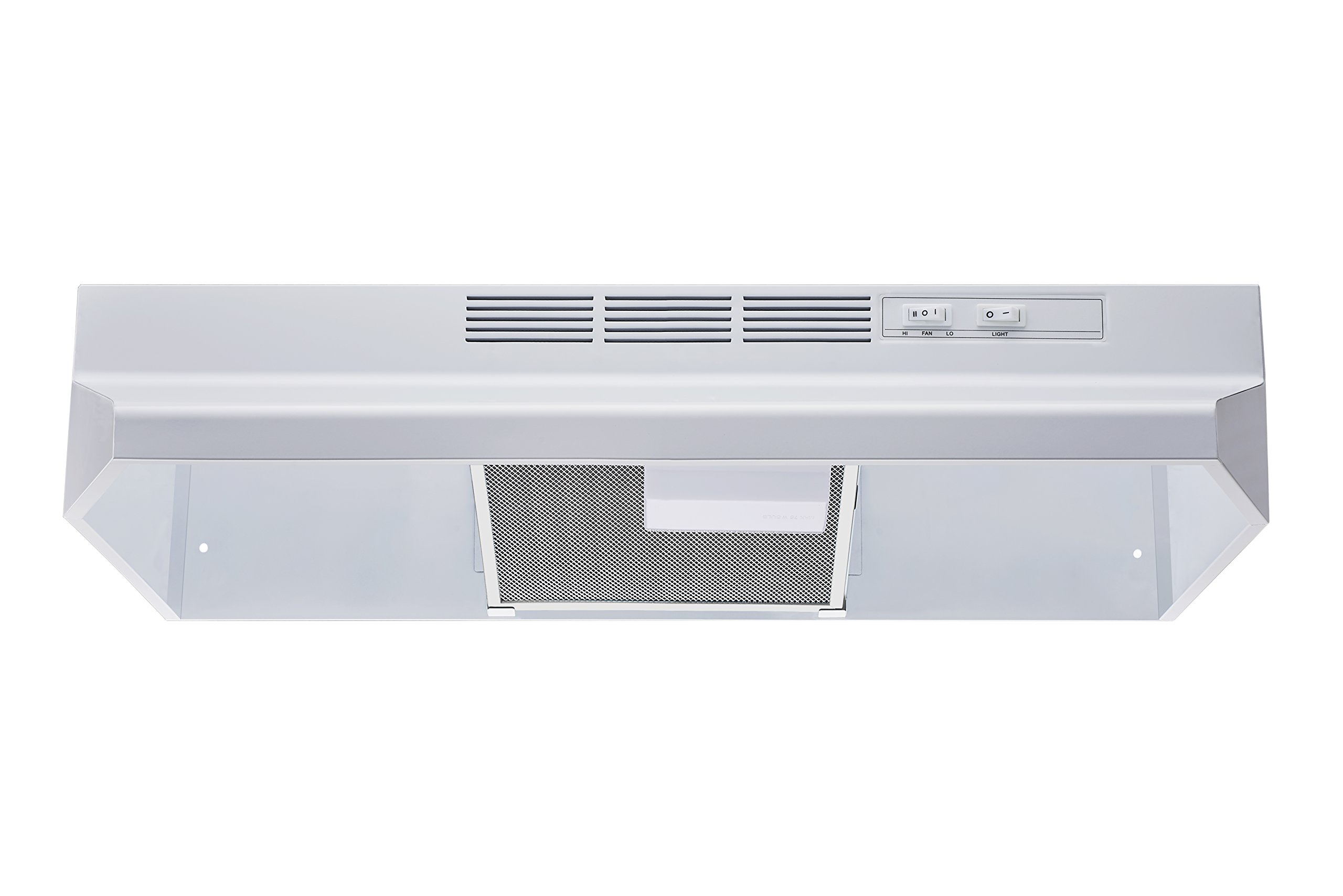Winflo New 30'' Ductless/Non-Ducted Under Cabinet Range Hood in White Color with Mesh Charcoal Filter