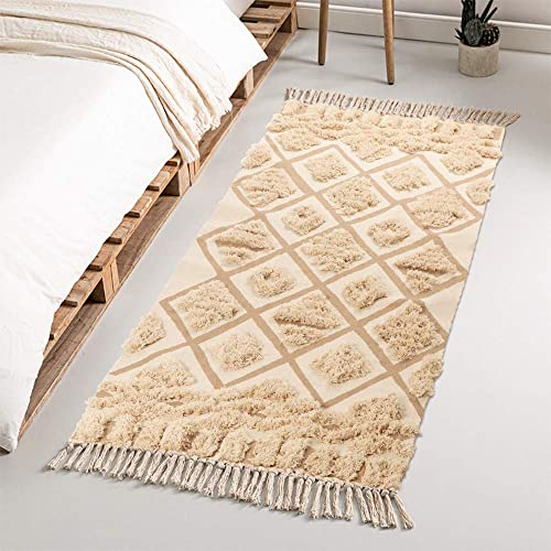 Seavish Tufted Cotton Area Rug,2.3X 5.2 Beige Geometric Hand Woven Fringe Throw Rugs Shag Accent Fringe Tassel Rug for Living Room Bedroom Bathroom Kitchen Laundry Dorm