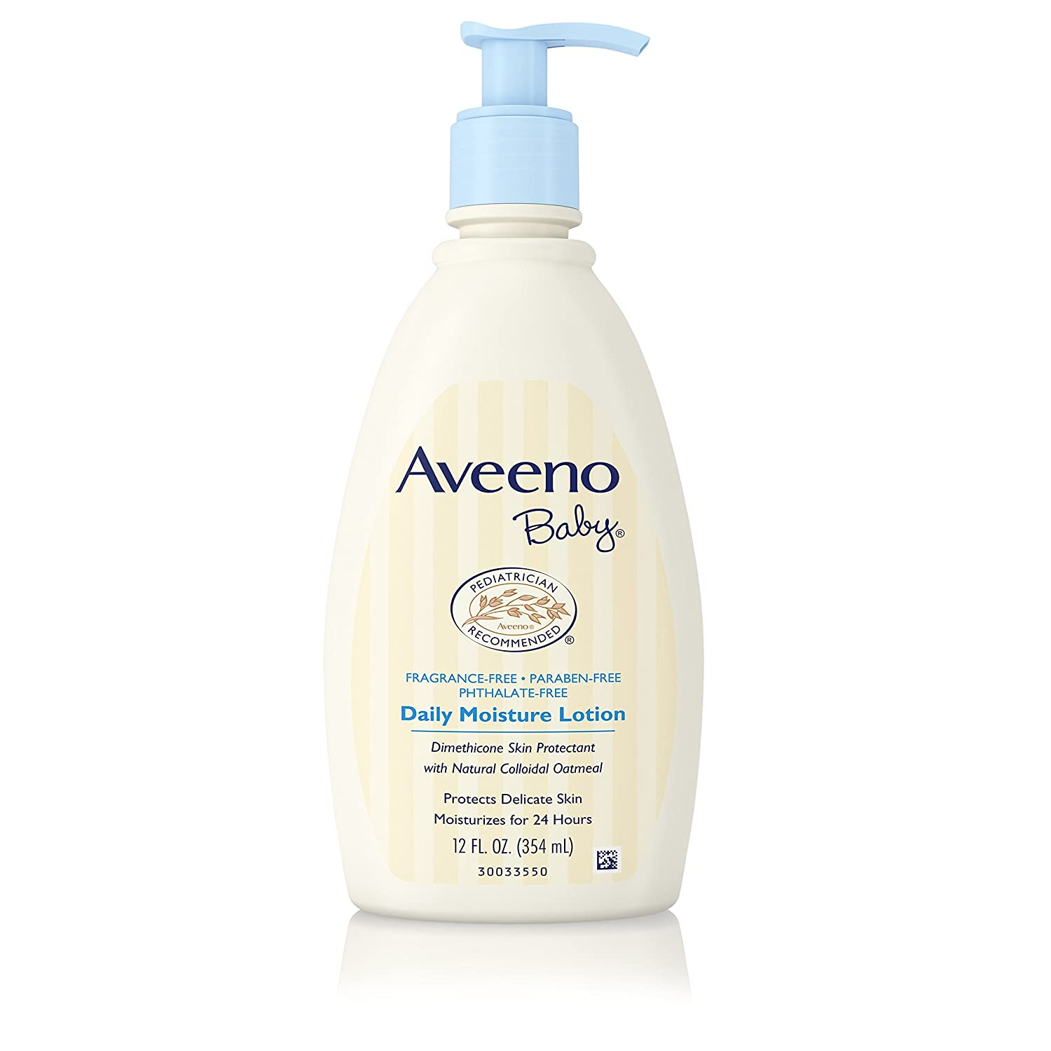 Aveeno Baby Daily Moisture Lotion with Natural Colloidal Oatmeal & Dimethicone, Fragrance-Free, 12 fl. oz (Pack of 6) Johnson & Johnson SLC 38137004229