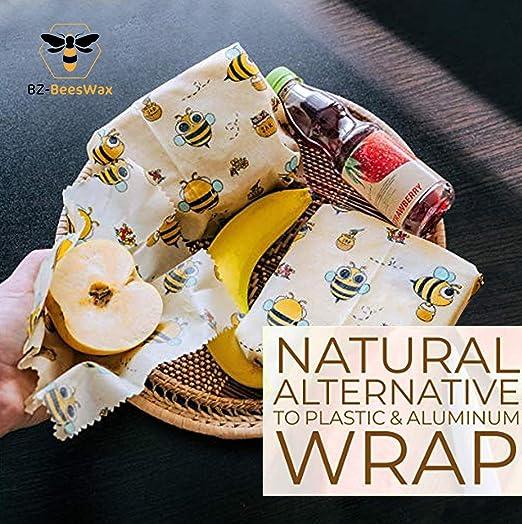 BZ-BEESWAX envase de Alimentos Biodegradable ecológica, Natural ...
