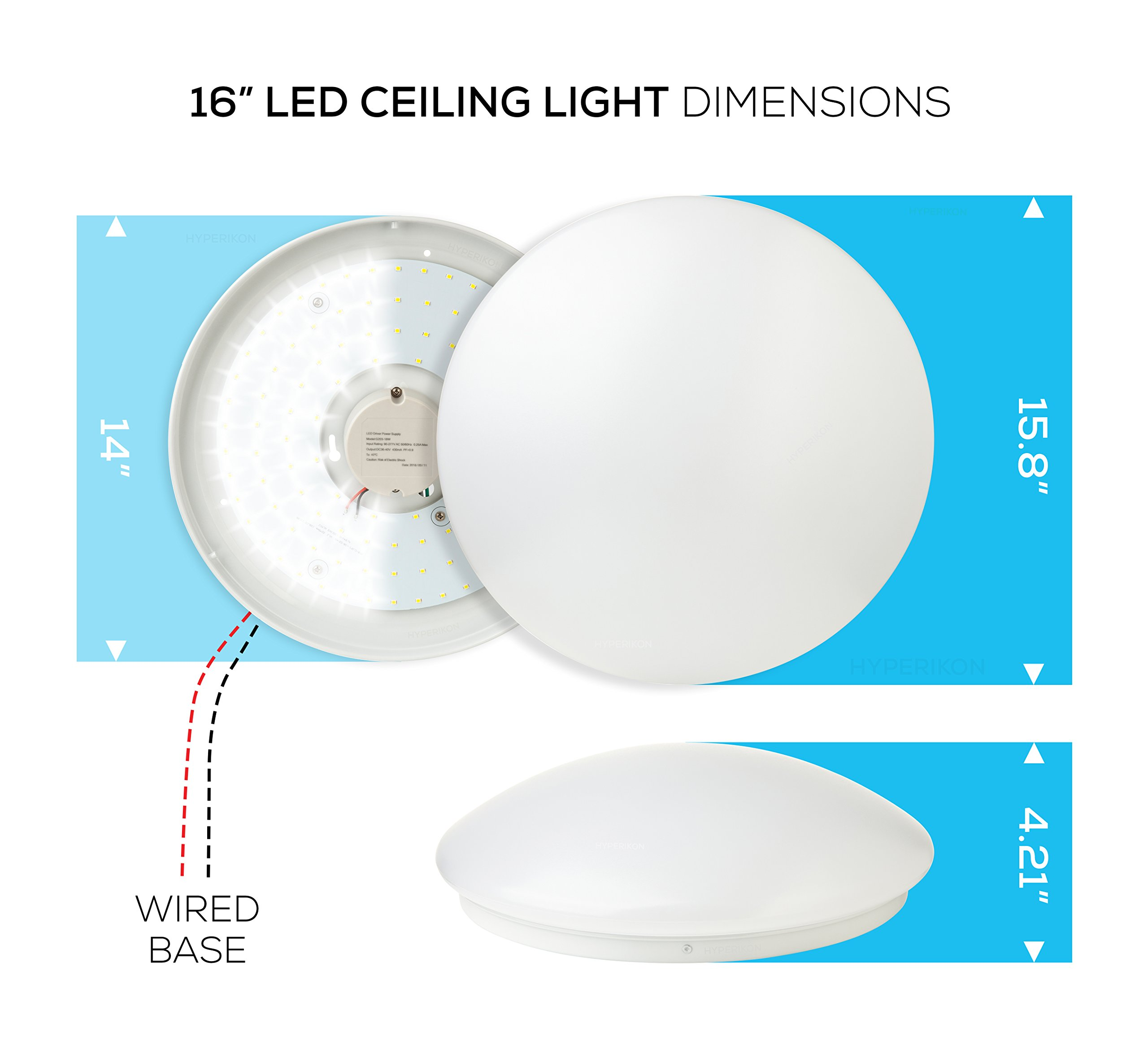 Hyperikon LED Flush Mount Ceiling Light, 16'', 35W (150W equivalent), 3100lm, 4000K (Daylight Glow), 120° Beam Angle, 120-240V, UL Listed, 16-Inch Flush Mount, Instant-On - (Pack of 4) by Hyperikon
