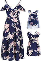 0b839803f117 PopReal Mommy and Me Floral Print V-Neck Cold Shoulder Ruffle Backless Matching  Outfits