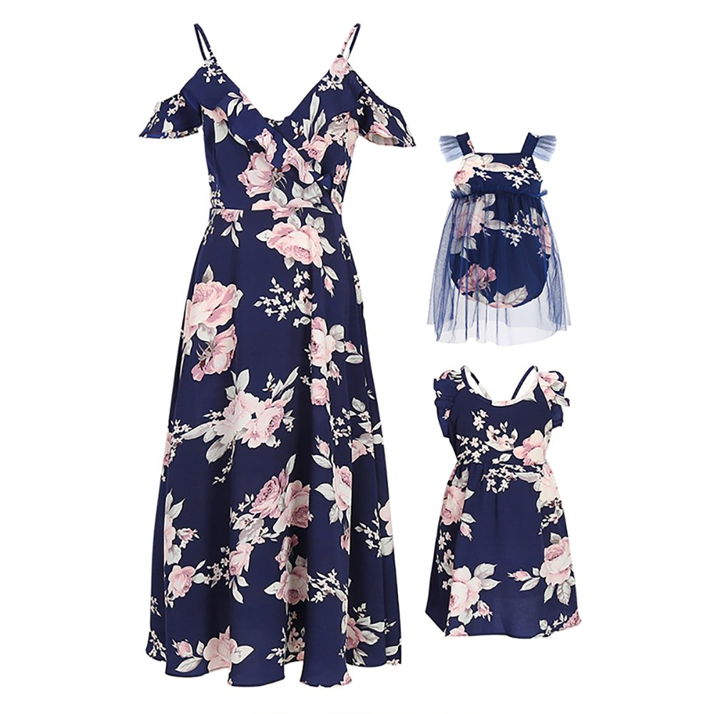 PopReal Mommy and Me Floral Print V-Neck Cold Shoulder Ruffle Backless Matching Outfits ML18070521