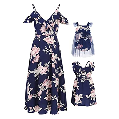 c683385a4 PopReal Mommy and Me Floral Print Strap Chiffon Fly Sleeve Romper Matching  Dress