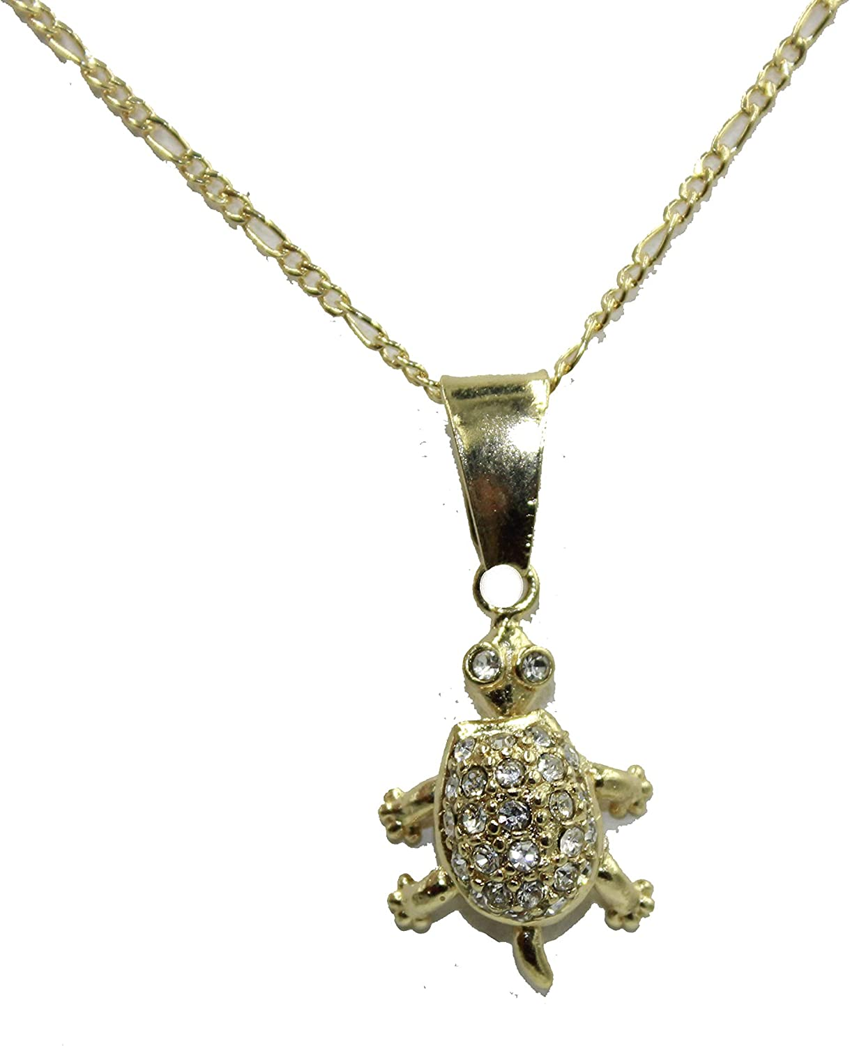 Diamantados of Florida Turtle with CZ Movable Charm18k Gold Plated Necklace with 20 inch Chain