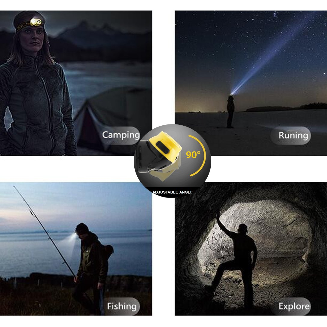 Ultra Bright LED Headlamp Waterproof Flashlight, White & Green LEDs, Adjustable Headband Hard Hat Light, USB Rechargeable Helmet Light, Hiking, Camping, Reading, Fishing, Grow Tent Head Lamp (yellow)