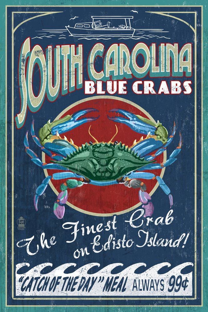 超人気の Edisto Beach, by South Carolina 8oz - Blue Giclee Crabs Vintage Sign (24x36 Giclee Gallery Print, Wall Decor Travel Poster) by Lantern Press B074RX5FFW 8oz Coffee Bag 8oz Coffee Bag, 地酒焼酎お取り寄せグルメのサワヤ:4b5cf282 --- lazypandafilms.com