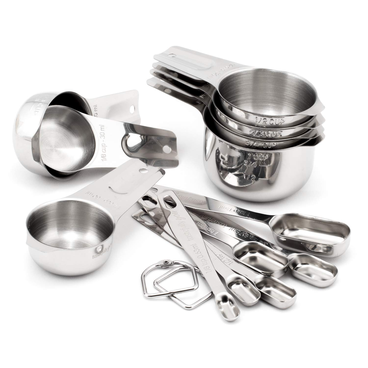 Tastefully You - 13-Piece Stainless Steel Dry Measuring Set Featuring 7 Cups and 6 Spoons - Durable and Long Lasting Metal Set is Dishwasher Safe - Provides Years of Active and Helpful Kitchen Use by Tastefully You