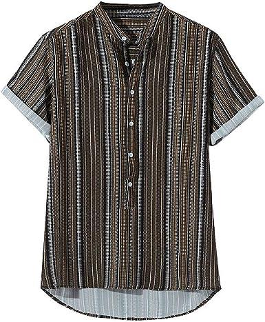 Camisas de Verano para Hombre, Camisetas de Manga Corta con Estampado de Rayas Verticales Boho Tops para Hombres Camisas Informales con Cuello en V Camisas de Polo Irregulares: Amazon.es: Ropa y accesorios