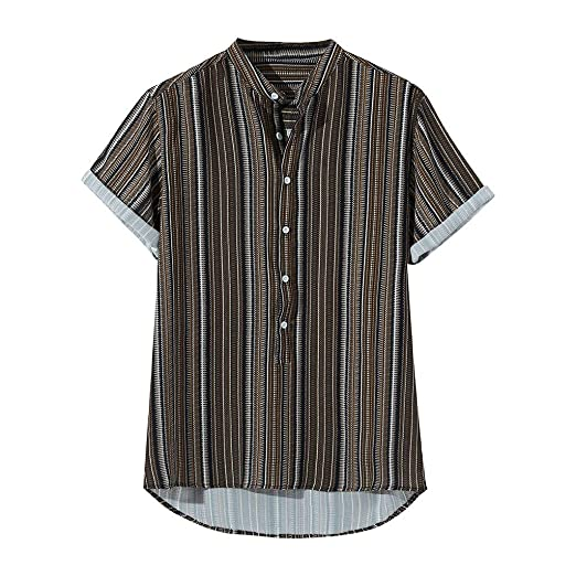 9f273112210 Mens Vintage Shirt Ethnic Printed Stand Collar Colorful Stripe T-Shirt  Short Sleeve Loose Henley
