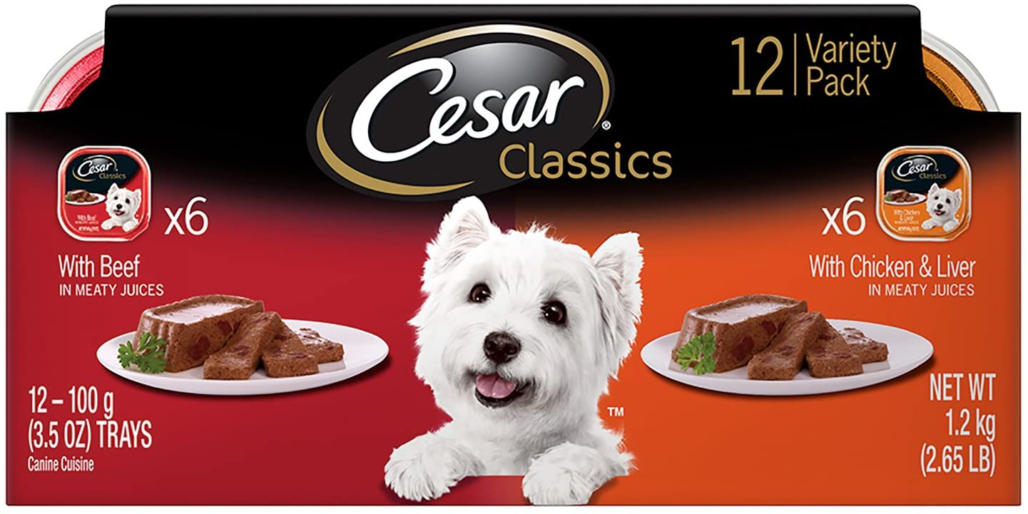 Cesar Canine Cuisine Variety Pack Beef and Chicken & Liver Dog Food, Trays 3.5 Ounces, 12-Count
