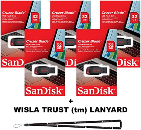 SanDisk Cruzer Blade 32GB 5 pack USB 2.0 Flash Drive Jump Pen with Lanyard
