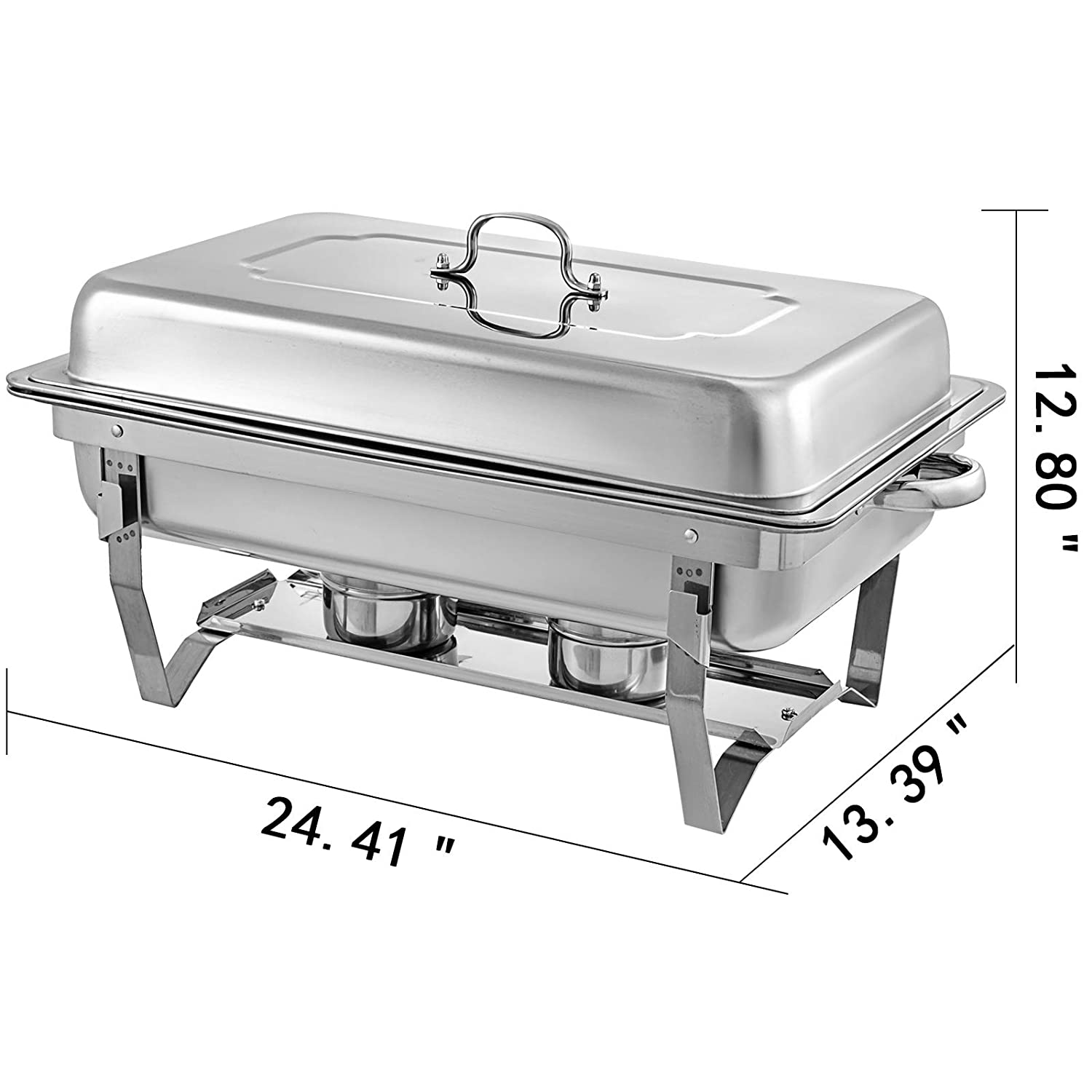 Mophorn Chafing Dish 8 Packs 8 Quart Stainless Steel Chafer Full Size Rectangular Chafers for Catering Buffet Warmer Set with Folding Frame