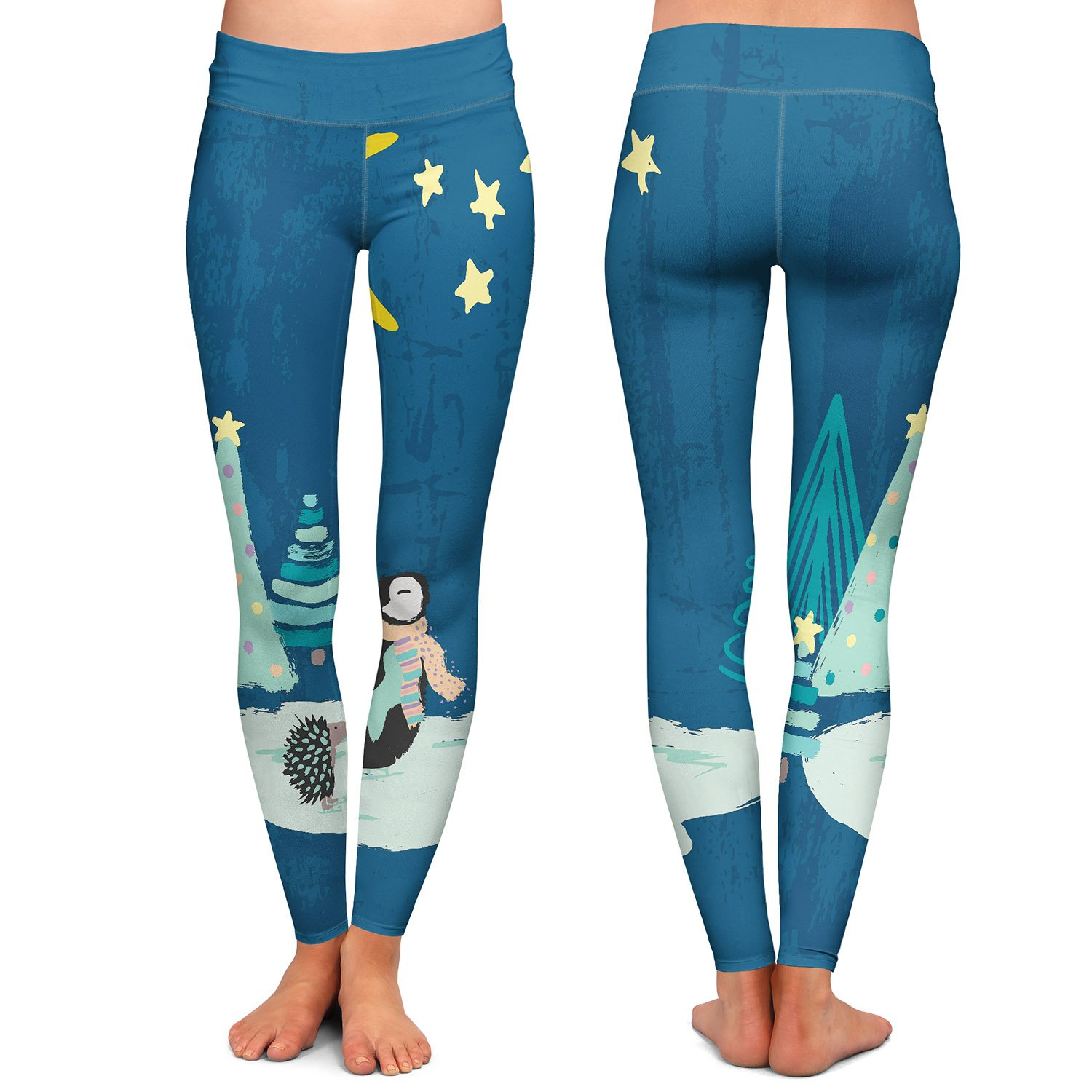 Christmas Penguin Athletic Yoga Leggings from DiaNoche Designs by Artist Metka Hiti
