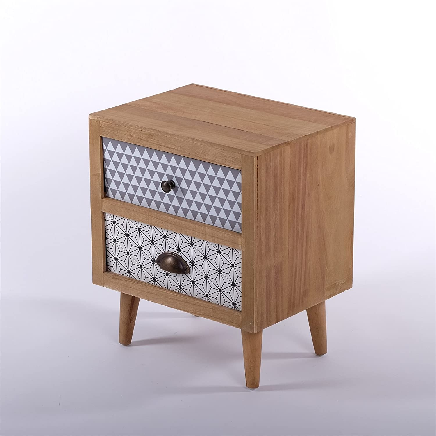 DESIGN DELIGHTS BEDSIDE TABLE RETRO | 19x16, 2 drawers | chest drawers, night stand xtradefactory GmbH