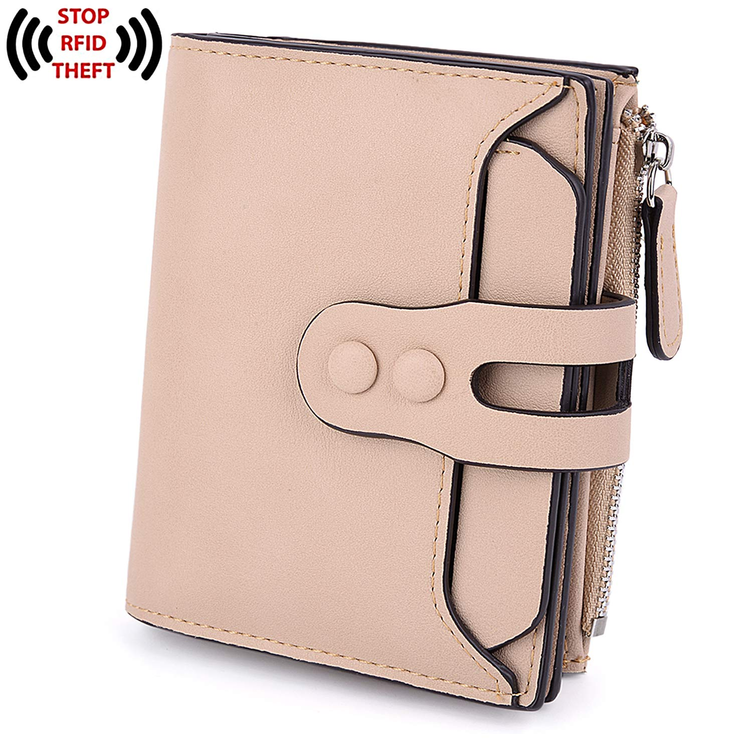 UTO RFID Wallet for Women PU Matte Leather Blocking Tech Wallet Card Holder Organizer Girls Coin Purse with Snap Closure E Pink