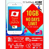SIM 日本 10GB プリペイドSIM 日数制限なし SIMカード SoftBank 4GLTE SIMピン付属 SIM有効期限シール付