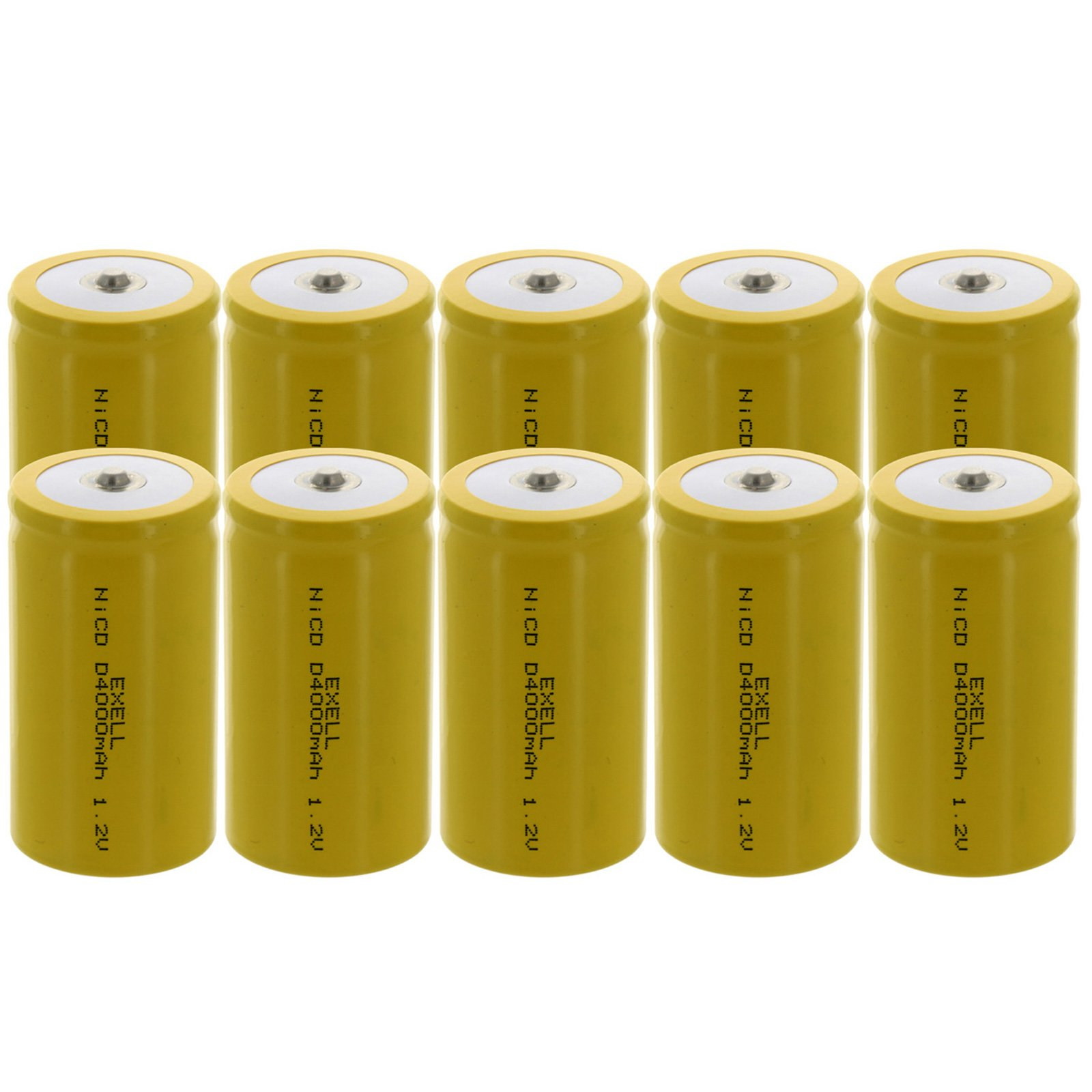 10x Exell D Size 1.2V 4000mAh NiCD Button Top Rechargeable Batteries for medical instruments/equipment, electric razors, toothbrushes, radio controlled devices, electric tools by Exell Battery