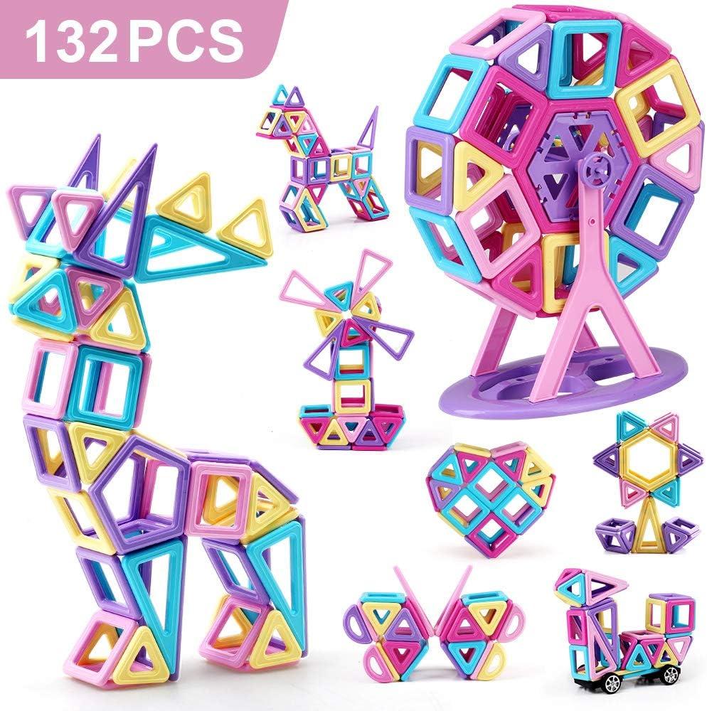Bloques de construcción magnéticos,132 Piezas Juegos de Viaje Construcciones Magneticas Kits de apilamiento Juguetes, niños Juguetes Regalo con Bolsa portátil para 3 4 5 6 años Niños y niñas