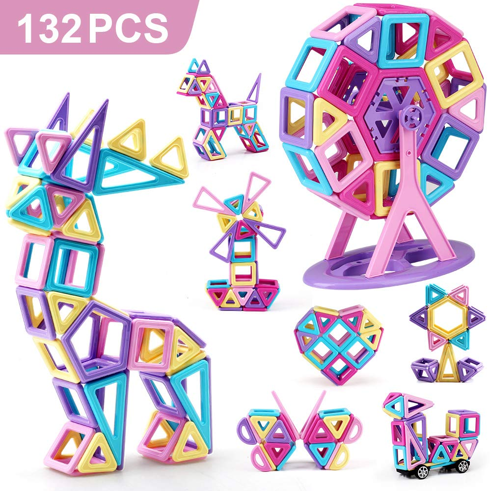 Amy&Benton Castle Magnetic Building Blocks 132PCS for Kids Babies and Toddlers Small STEM Educational Toys by Amy & Benton