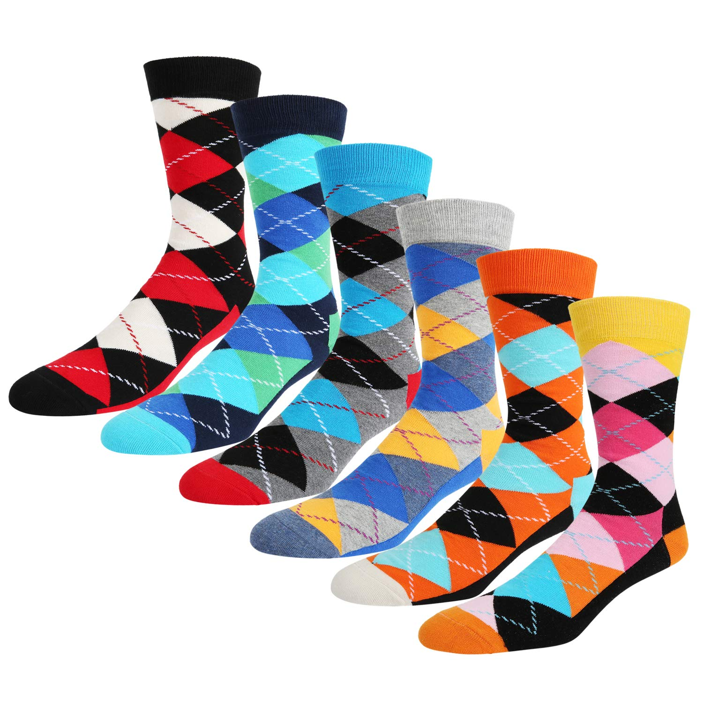 Mens Argyle Funky Colorful Business Socks Contrast Color And Plaid Design Cotton Blend Socks 6 Pack