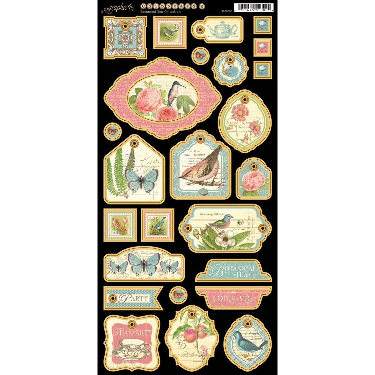 Botanical Tea Chipboard Die-Cuts 6X12 Sheet-Tags #2 Graphic 45 4500896