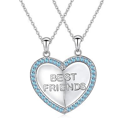 b1e4db1249e S925 Sterling Silver Best Friend Necklaces Heart 2 Piece Gifts Women Teen  Little Girls Friendship BBF