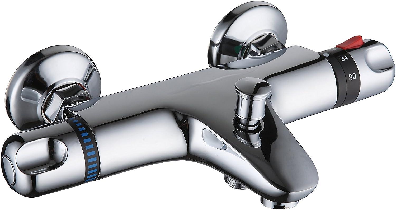 DP Grifería TTEX0001 Grifo termostático de bañera, Plateado ...