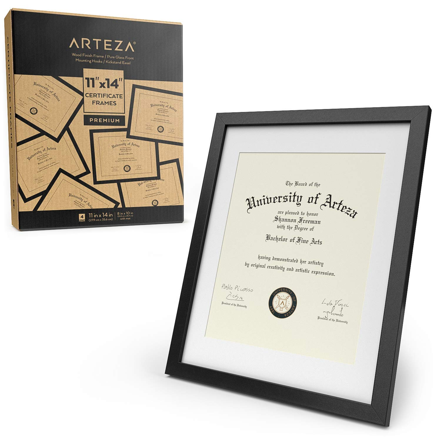 ARTEZA Document Frame - Displays 11'' x 14'' Documents w/o Mat or 8.5'' x 11'' Certificates w/Mat - 4 Pack - Wood Finish Frame - Pure Glass Front - Picture Frame for Wall - Gallery Wall