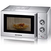 Severin MW 7849 - Microondas con grill, 900 W, 22 L, 9 niveles de potencia, temporizador, acero inoxidable, color plata