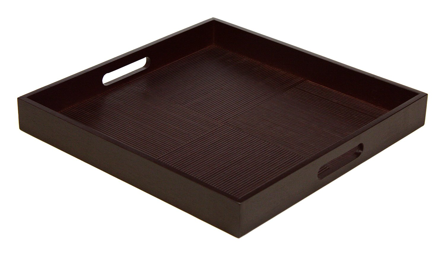 Simply Bamboo Espresso Brown Bamboo Wood Square Serving Tray, 16'' L x 16'' W