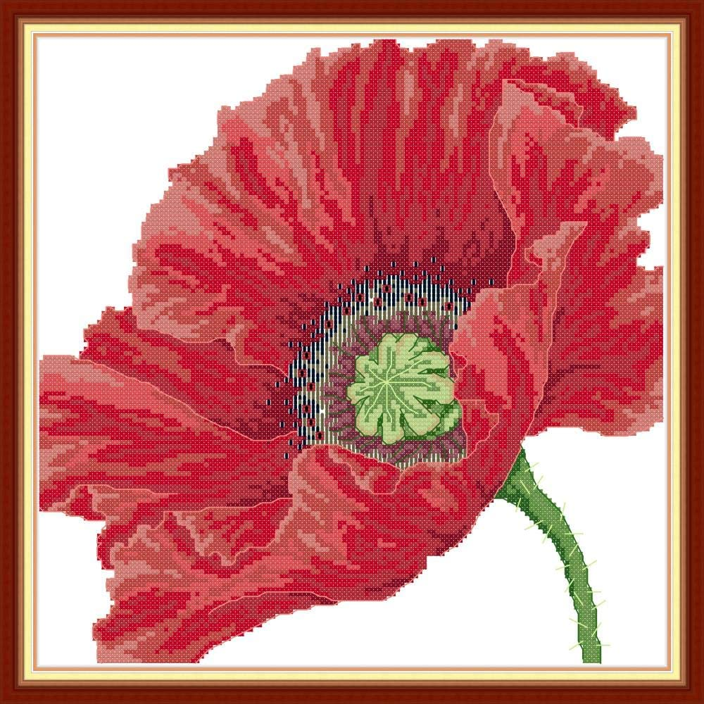 Red Big Red Poppy Flower 11CT 42/×42cm DIY Embroidery Needlework Kit with Easy Funny Preprinted Patterns Needlepoint Christmas YEESAM ART Cross Stitch Kits Stamped for Adults Beginner Kids