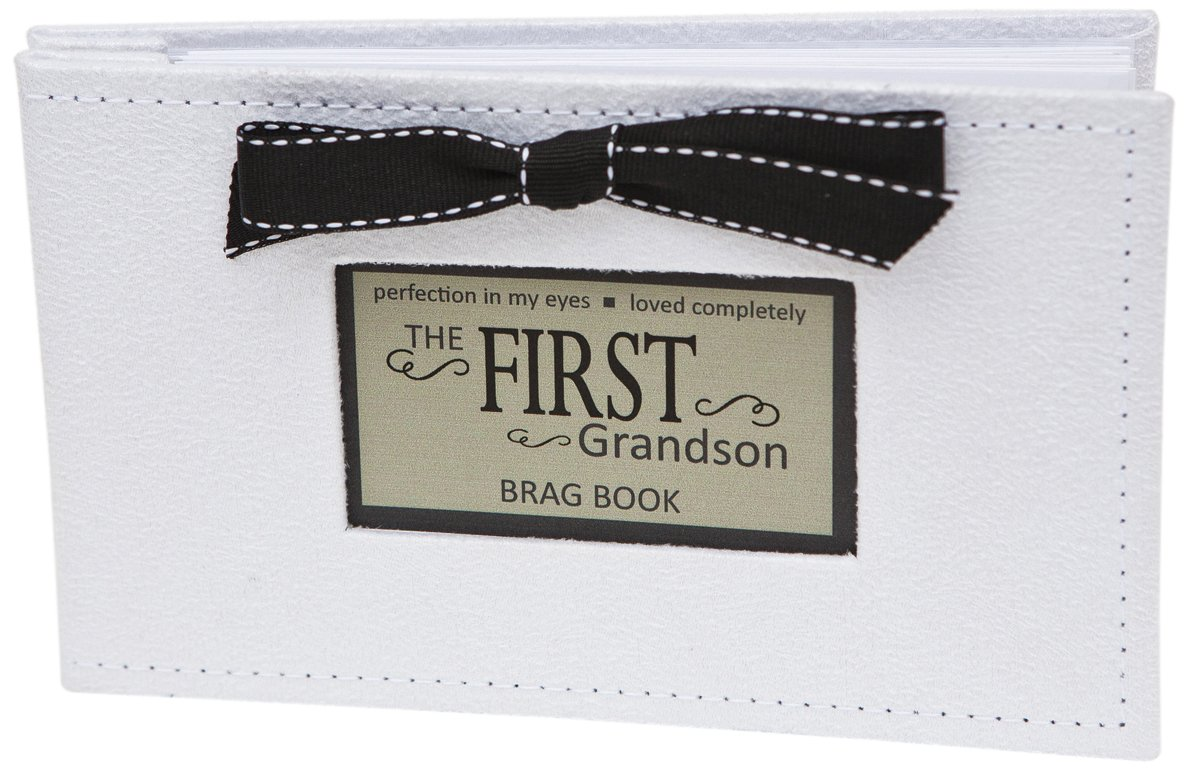 grandparent gifts 1st grandson brag book white faux suede holds 32 4x6 images