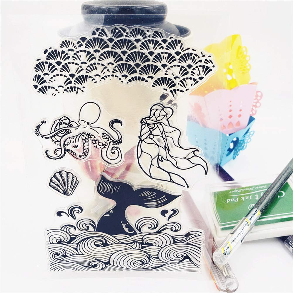 3.9 by 5.9 Inches Sea Animal Starfish Mermaid Tree Clear Rubber Stamps for Scrapbooking Card Making Craft Stamps