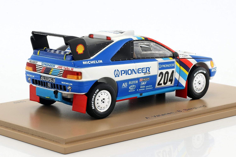 SPARK Peugeot - 405 T16 Gran Raid - Paris Dakar 1989 Coche de ferrocarril de Collection, s5616, Color Blanco/Azul: Amazon.es: Juguetes y juegos