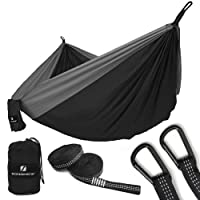 SONGMICS Single & Double Parachute Nylon Camping Hammock Ultra-Lightweight & Portable Swing Bed 118'' x 78'' Hold up to 660LB for Outdoor Backpacking, Hiking, Beach,Yard, Traveling