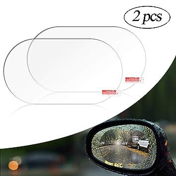 cococity Película protectora Antivaho para Espejo Retrovisor de coche 100 x 145 mm 2 unidades, ovalada, antirreflectante Protector de ventana de espejo ...