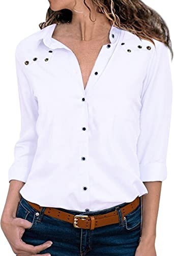 HenzWorld Camisas de Lino de Algodón para Mujer Blusa Tipo Túnica de Manga Larga Informal