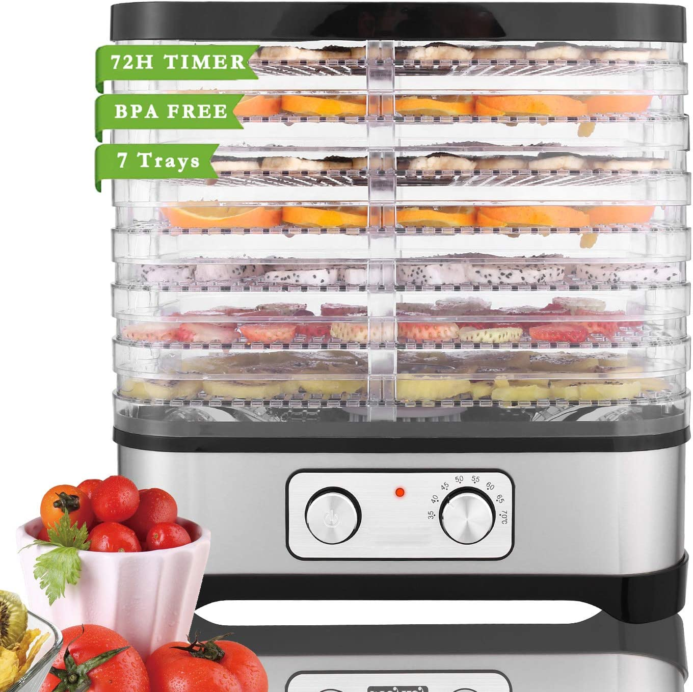Food Dehydrator Machine for Jerky Meat Fruit Vegetable Beef, BPA Free, Temperature Control 250W (7 Trays, black one-button)