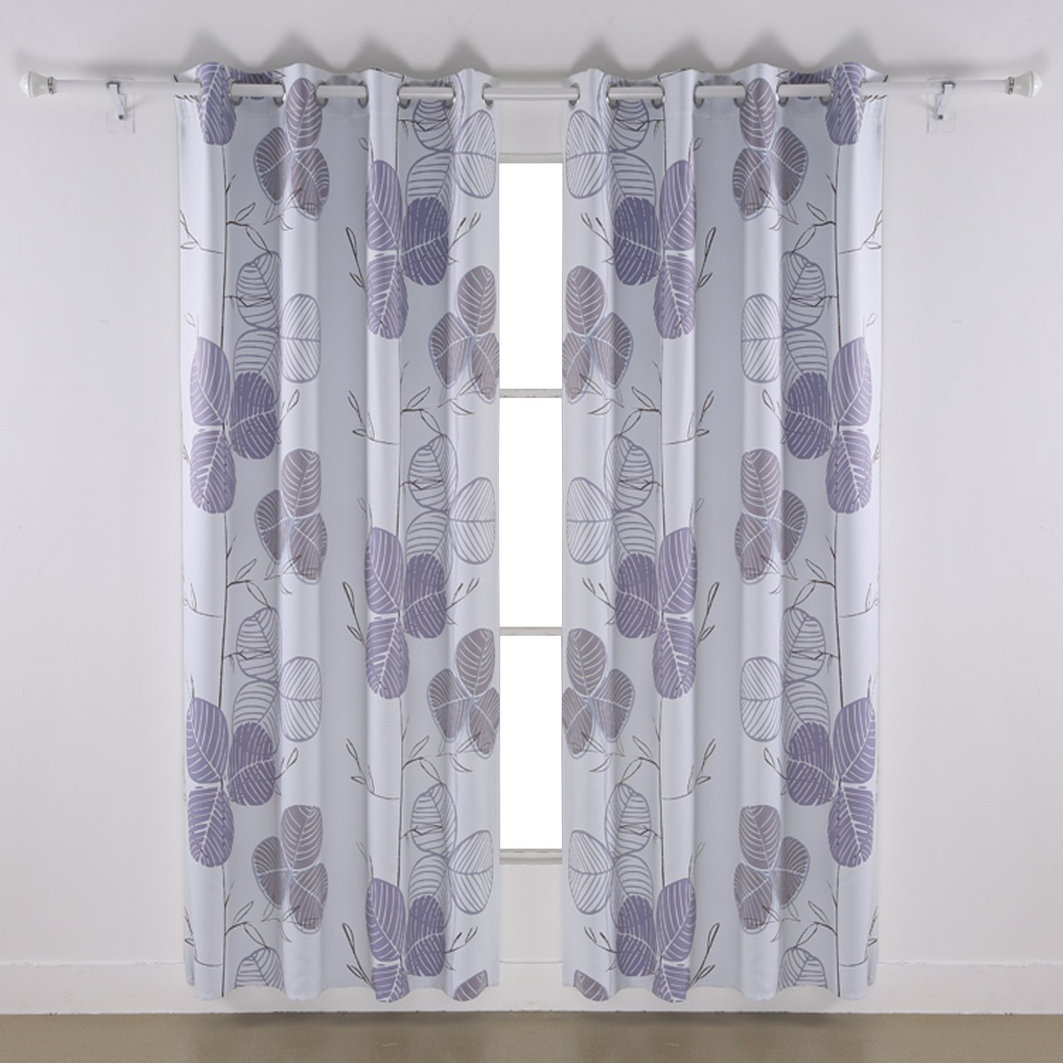 Deconovo Room Darkening Leaf Printed Curtains Window Panel Drapes Thermal Insulated Blackout Grommet Curtains Grey