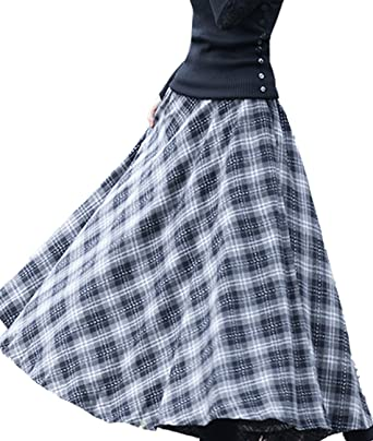 8f4b0b440cb6 Amazon.com: Femirah Women's Grey Thick Vintage Plaid Pleated Skirt Autumn  Winter Long Skirts: Clothing