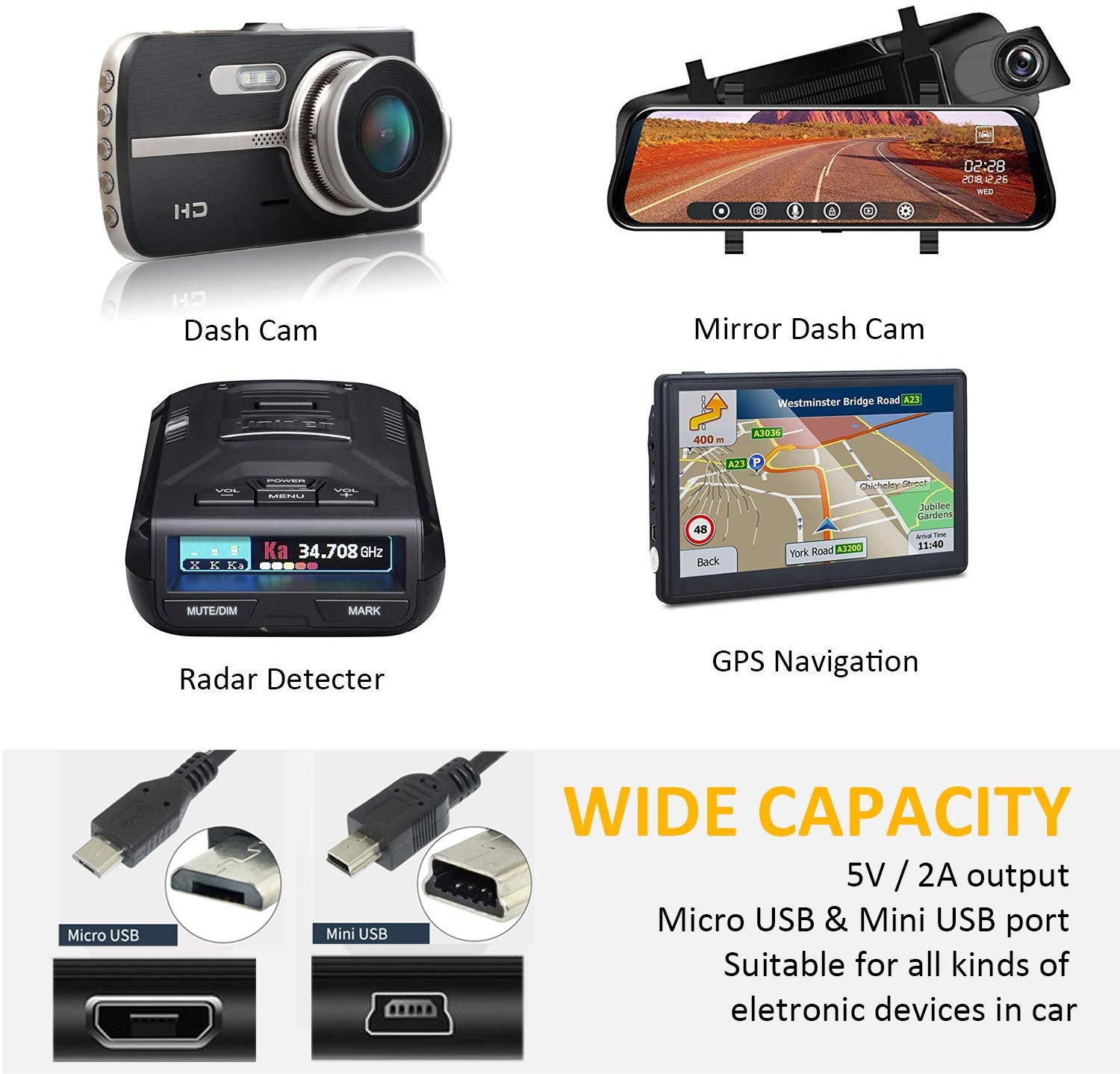 for Dash Camera and GPS Charger Power Cord(11.5ft) Dash Cam Charger Micro USB /& Mini USB Cable Dosili car Dash cam USB Power Cord