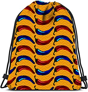 Drawstring Backpack With Red And Blue Chili Peppers Bright Objects On Warm Yello Laundry Bag Gym Yoga Bag