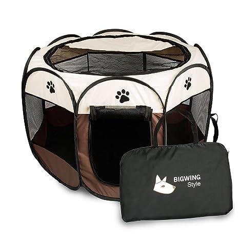 Parque Mascota de Juego Entrenamiento Dormitorio Perro Gato Conejo Octágono Plegable Lavable Durable 73x 73x 43