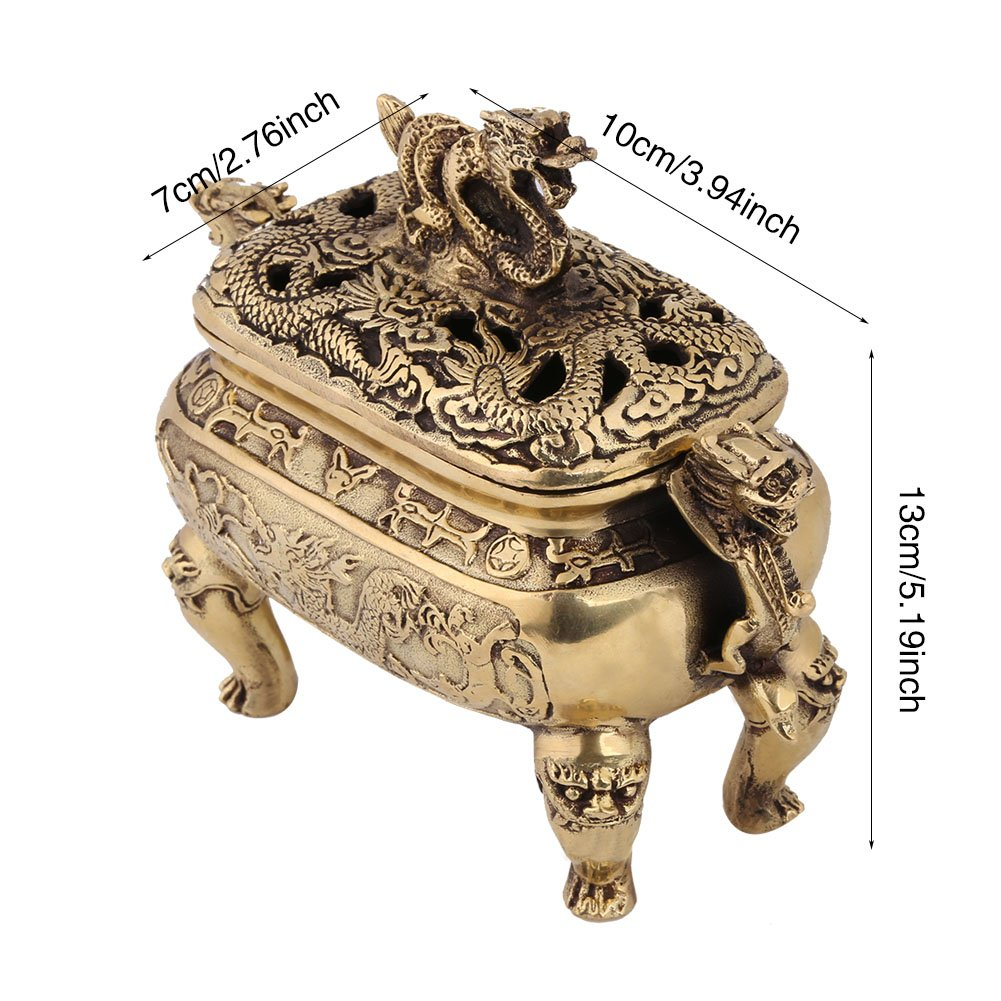 Walfront Antique Bronze Copper Chinese Dragon Incense Burner Holder with Lid Home Decoration by Walfront (Image #4)