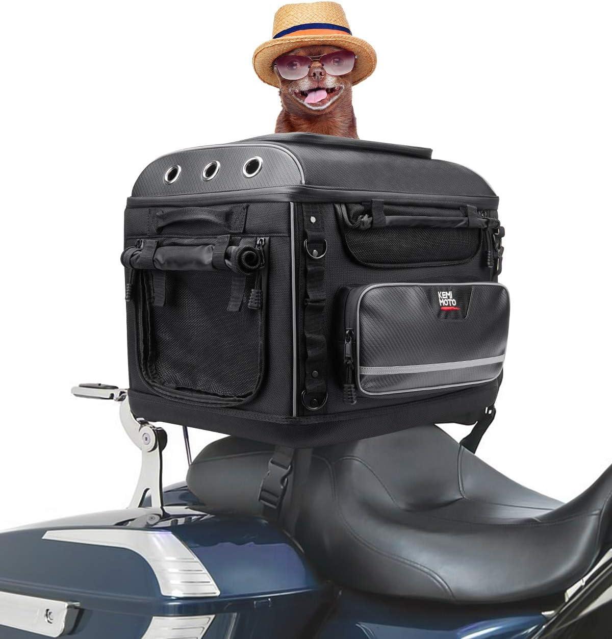 kemimoto Motorcycle Dog//Cat Carrier Bag Pet Voyager for Street Glide Road King with Passenger Seat Sissy Bar or Luggage Rack Touring Trike Models
