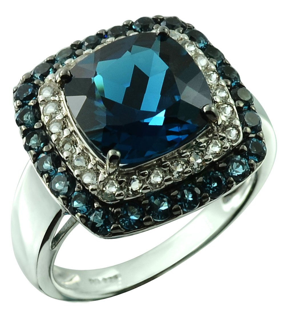 RB Gems Sterling Silver 925 STATEMENT Ring GENUINE GEMSTONE Cushion 10 mm with RHODIUM-PLATED Finish (8, london-blue-topaz)