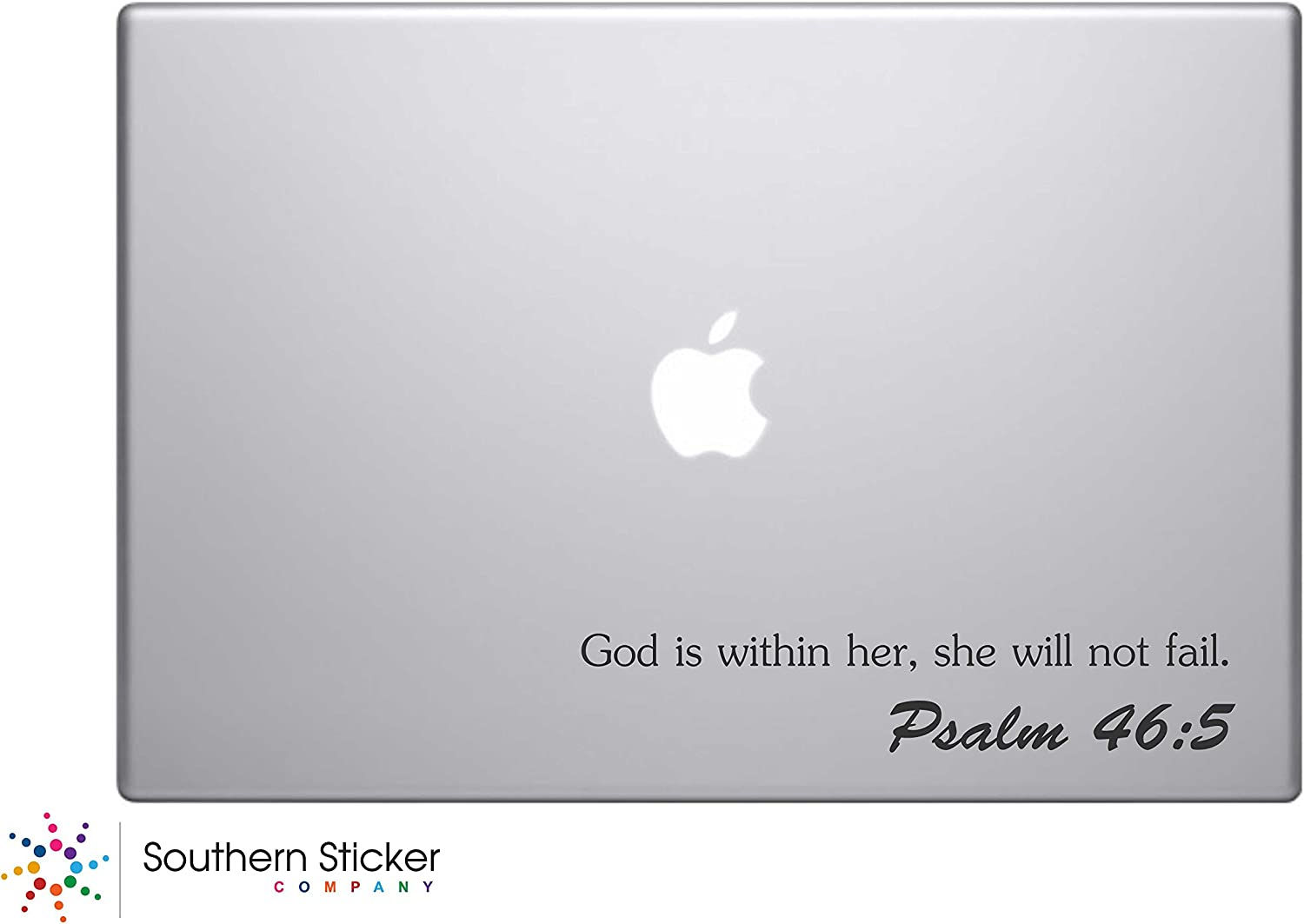 God Is Within Her, She Will Not Fail. Psalm 45:5 Bible Verse Laptop Inspirational Quotes Decal Sticker Silhouette Doctor computer Symbol Keypad Decal Skin Sticker